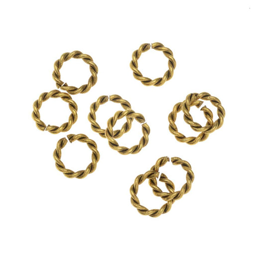 Nunn Design Jump Ring, Twisted Rope Open 17 Gauge, 8mm, 10 Pcs, Antiqued Gold