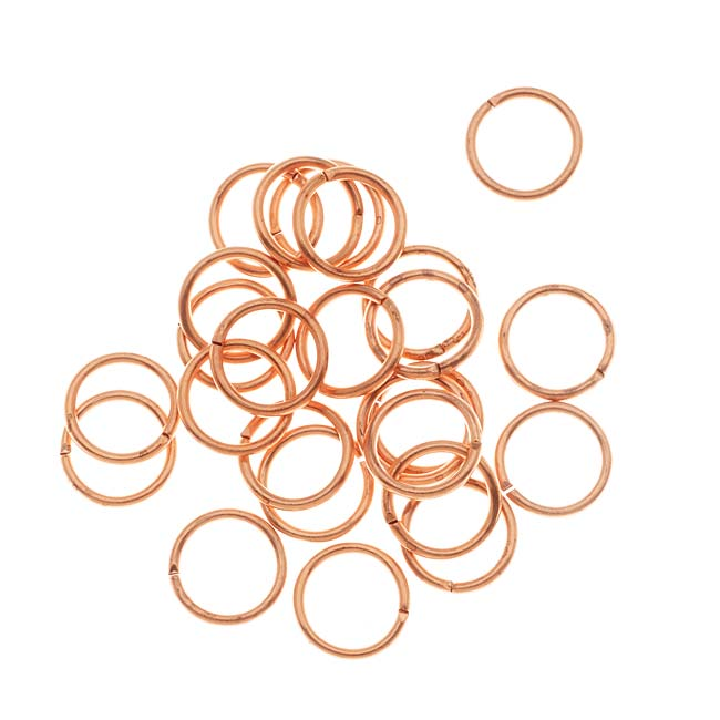 Jump Rings, Open 8mm Diameter 18 Gauge, 25 Pieces, Raw Copper