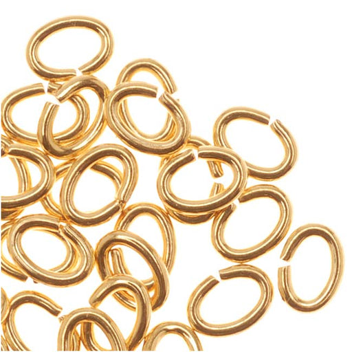 22K Gold Plated Open Jump Rings Oval 21 Gauge 3x4mm (50)