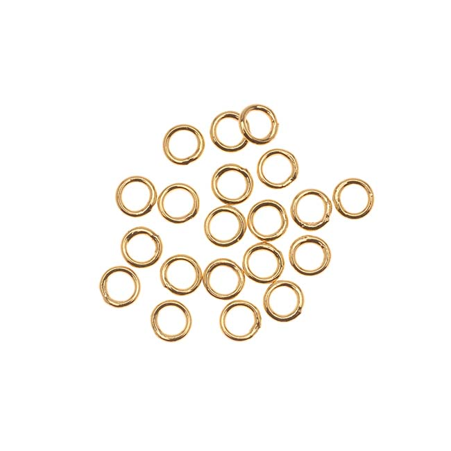 22K Gold Plated Closed Jump Rings 5mm 19 Gauge (20)