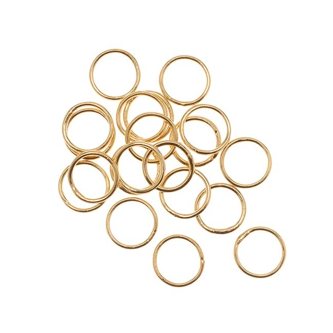 22K Gold Plated Closed Jump Rings 8mm 20 Gauge (20)