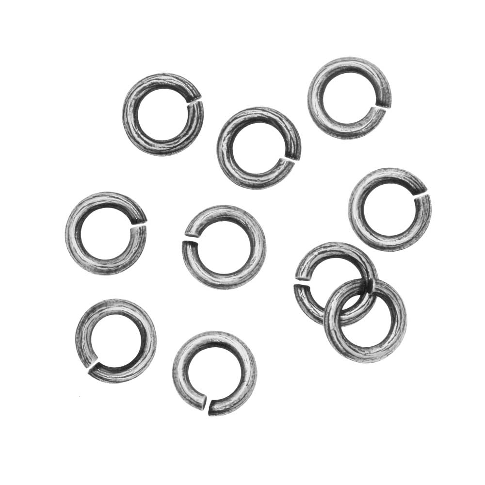 Nunn Design Jump Ring, Bark Textured Open 16 Gauge, 6.5mm, 10 Pieces, Antiqued Silver