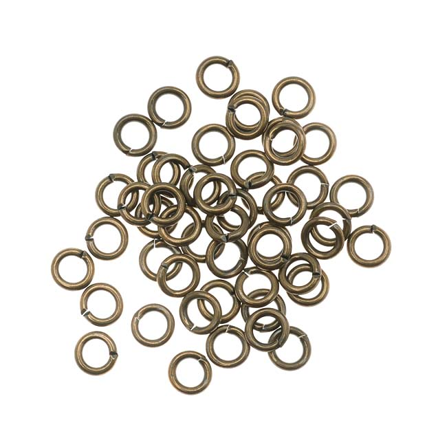 Antiqued Brass Open Jump Rings 5mm 18 Gauge (50)
