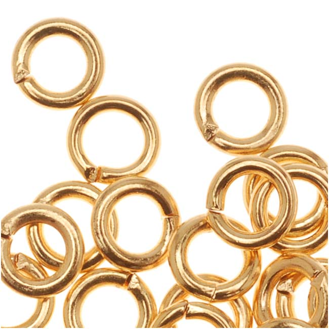 22K Gold Plated Open Jump Rings 5mm 18 Gauge (50)