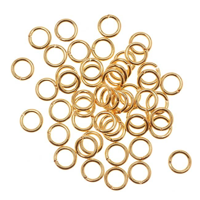 22K Gold Plated Open Jump Rings 6mm 18 Gauge (50)