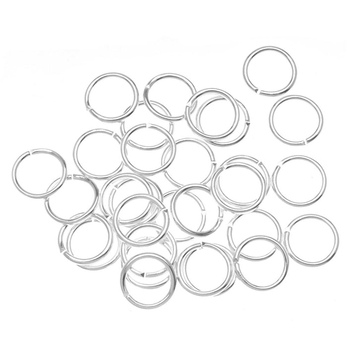 Silver Plated Open Jump Rings 8mm - 18 Gauge (100)