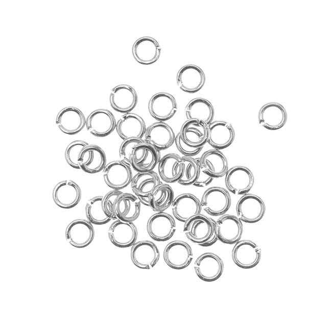 Silver Plated Open Jump Rings 4mm 19 Gauge (50)