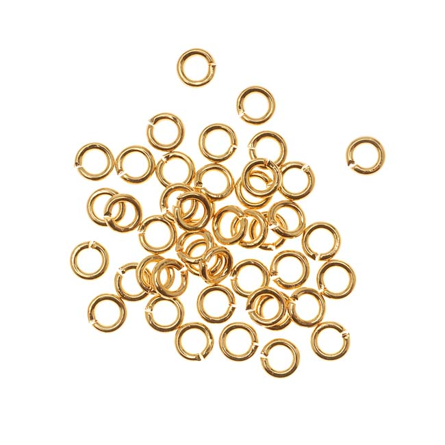 22K Gold Plated Open Jump Rings 4mm 19 Gauge (50)