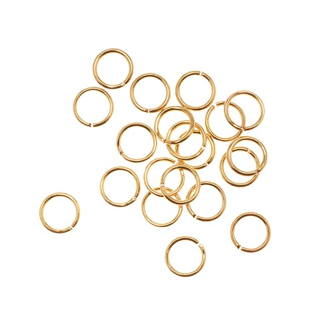 22K Gold Plated Open Jump Rings 6mm 20 Gauge (20)