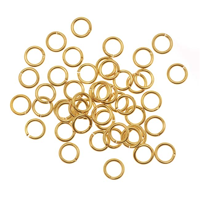 Gold Tone Brass Open Jump Rings 5mm 20 Gauge (50)