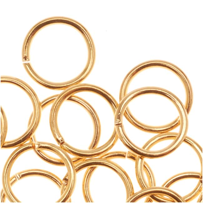 22K Gold Plated Open Jump Rings 6mm 21 Gauge (50)