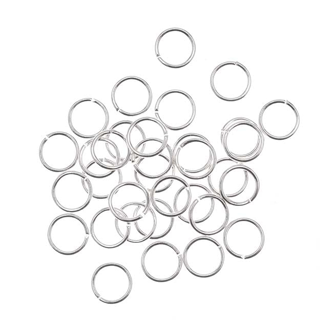 Silver Plated Open Jump Rings 6mm 21 Gauge (50)