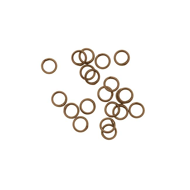 Antiqued Brass Closed Jump Rings 4mm 22 Gauge (20)