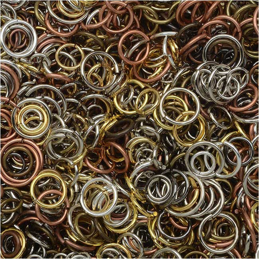 Open Jump Rings Variety Pack, Assorted 4-10mm Size Mix, 50-80 Pieces 7.5 Grams, Multi-Colored
