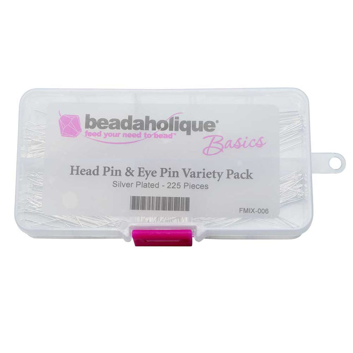 Beadaholique Basics, Head & Eye Pin Pin Variety Pack, 225 pieces, Silver Plated