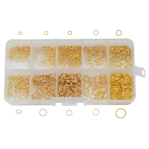 Beadaholique Basics, Jump Ring Variety Pack, 600 Pieces, Gold Plated