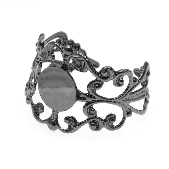 Gun Metal Color Filigree Adjustable Ring with  8mm Round Glue-On Plate (1)