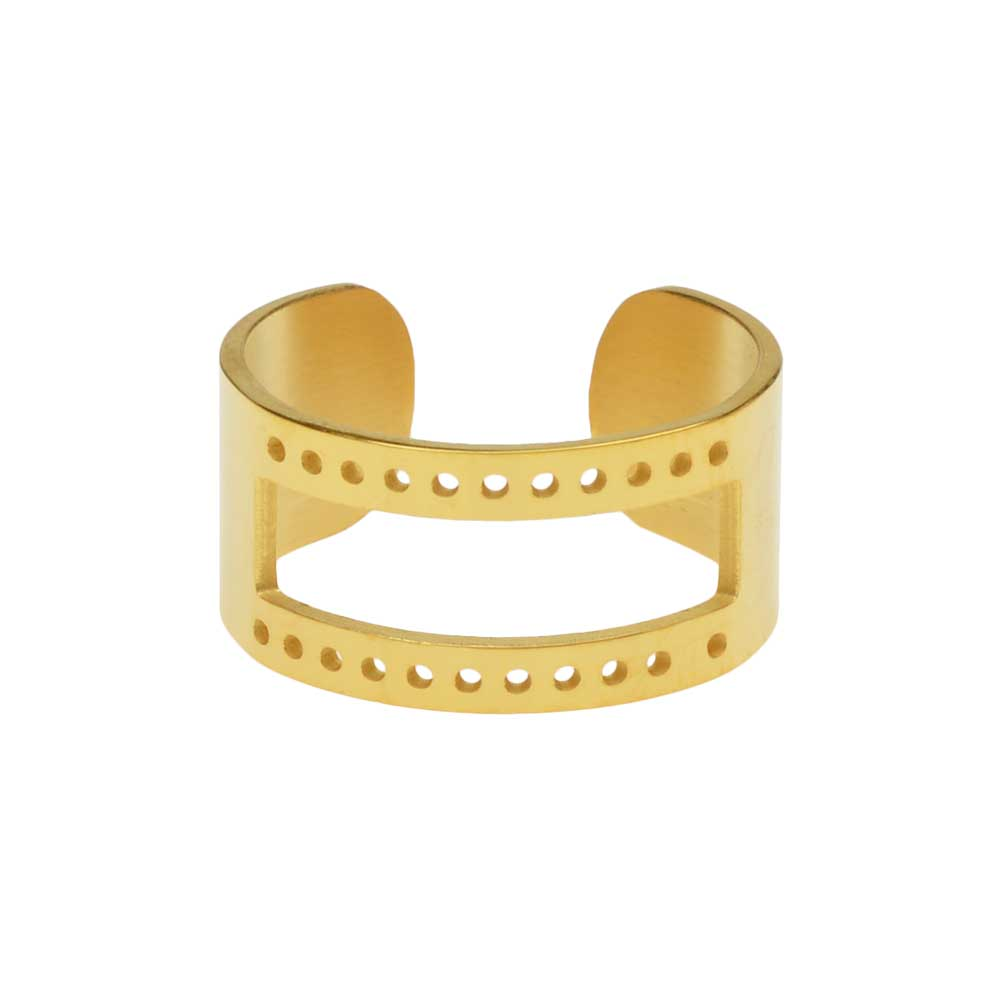 Centerline Beadable Adjustable Ring, with Rectangular Cutout and Holes 10mm Wide, Gold Plated