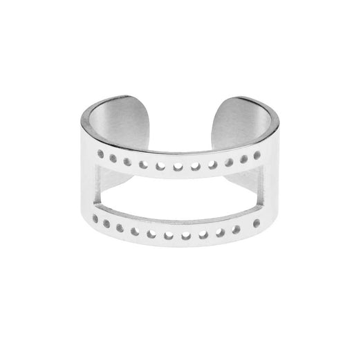 Centerline Beadable Adjustable Ring, with Rectangular Cutout and Holes 10mm Wide, Silver Plated