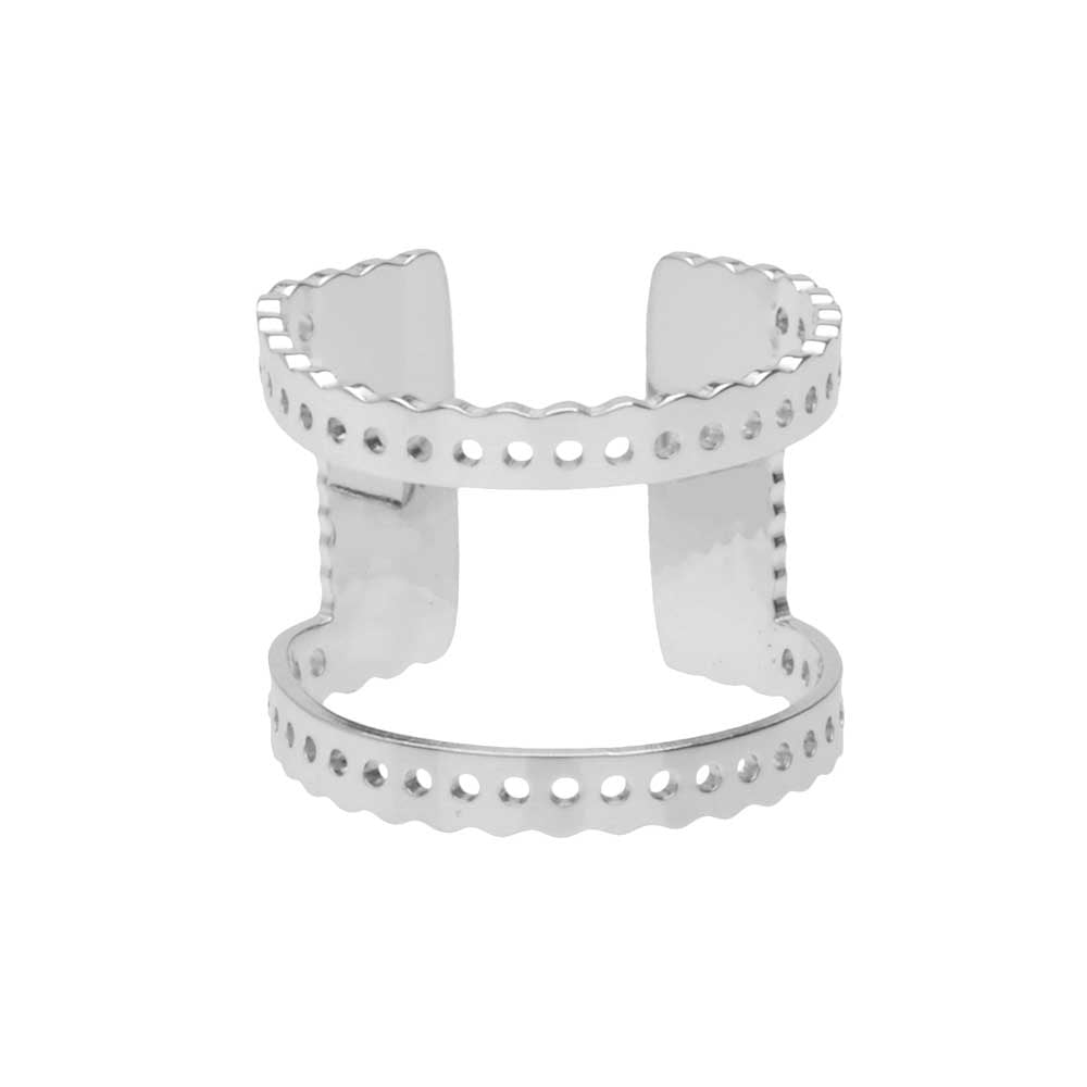 Centerline Beadable Adjustable Ring, Cutout and Holes 16mm, 1 Piece, Rhodium Plated