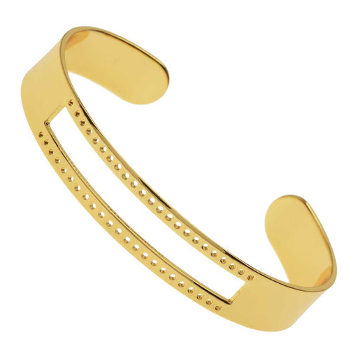Centerline Beadable Cuff Bracelet, with Rectangular Cutout and Holes 10x58mm, 1 Piece, Gold Plated