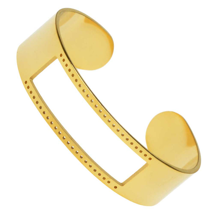 Centerline Beadable Cuff Bracelet, with Rectangular Cutout and Holes 16x58mm, 1 Piece, Gold Plated