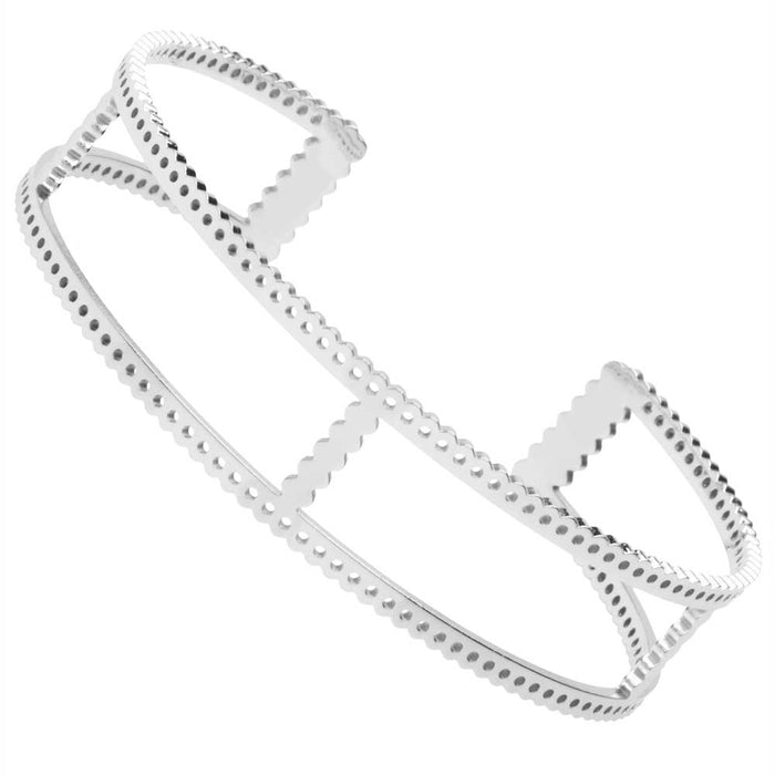 Centerline Beadable Cuff Bracelet, Cutouts and Holes 15.5mm, 1 Piece, Rhodium Plated