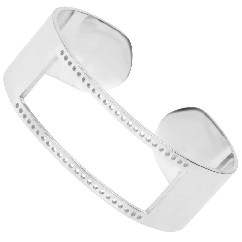 Centerline Beadable Cuff Bracelet, Cutout and Holes 18mm, 1 Piece, Rhodium Plated
