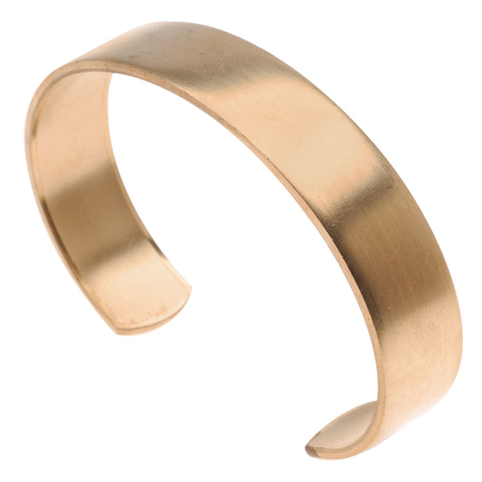 Solid Brass Flat Cuff Bracelet Base 12.7mm (0.5 Inch) Wide (1 Piece)