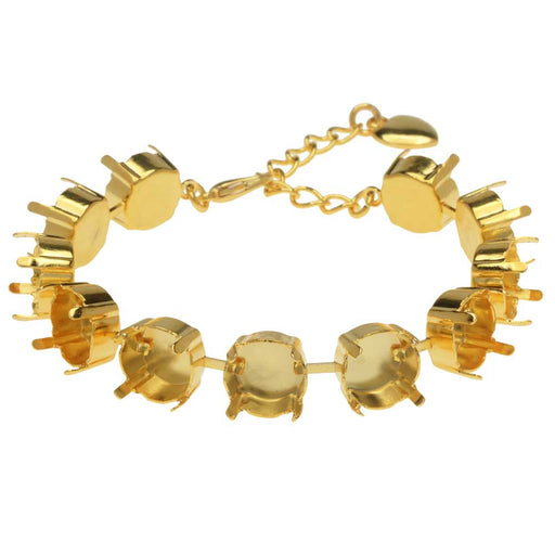 Gita Jewelry Almost Done Bracelet, 11 Cup Settings for SS47 Swarovski Crystal Rivolis, Gold Plated