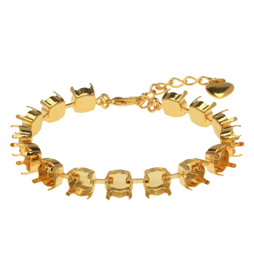 Gita Jewelry Almost Done Bracelet, 15 Cup Settings for SS39 Swarovski Crystal Chatons, Gold Plated
