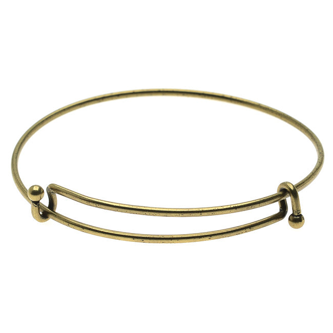 Expandable Charm Bangle Bracelet, Double Bar, 1 Bracelet, Antiqued Brass
