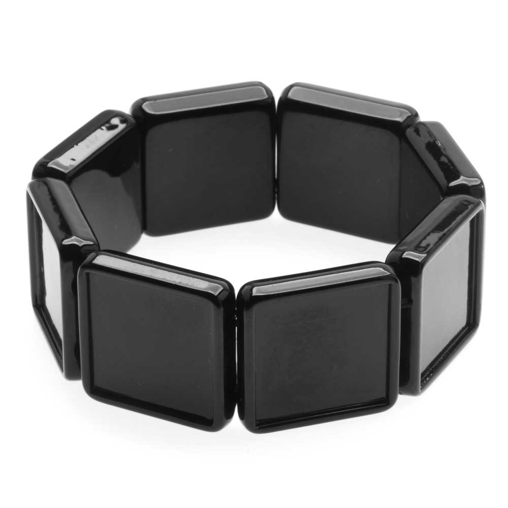 Black Plastic Stretch Bezel Collage Bracelet 20mm Squares - 7 Inches (1)