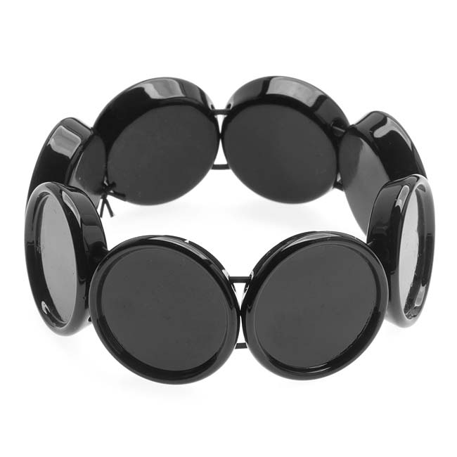 Black Plastic Stretch Bezel Collage Bracelet 20mm Round - 7 Inch (1)