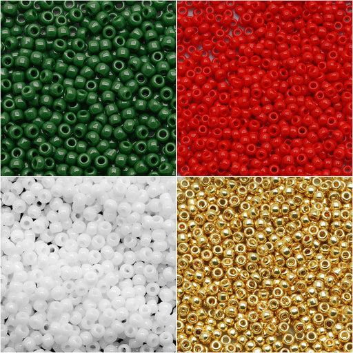 Exclusive Beadaholique Designer Palette, Toho Seed Bead Mix, Round 11/0, 32 Grams, Classic Christmas