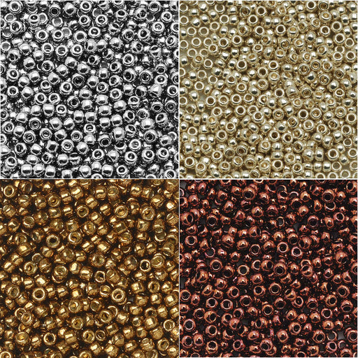 Exclusive Beadaholique Designer Palette, Toho Seed Bead Mix, Round 11/0, 32 Grams, Antique Metallics