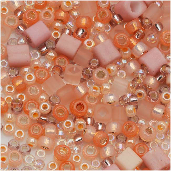 Toho Assorted Glass Beads 'Piichi' Peach Mix 8g