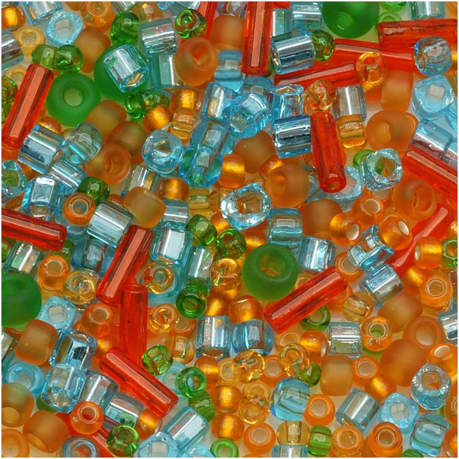 Toho Assorted Glass Beads 'Haiku' Orange/Green/Blue Mix 8g