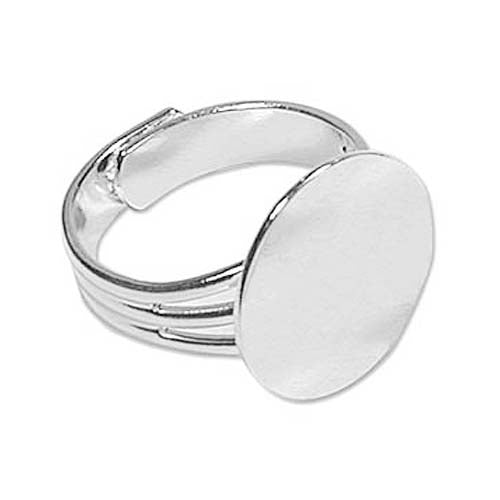Silver Plated Adjustable Ring With 16mm Pad For Gluing (4)