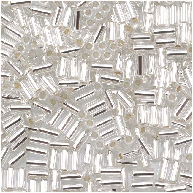 Toho Bugle Tube Beads Size #1 / 2x3mm Silver Line Crystal 8 Grams