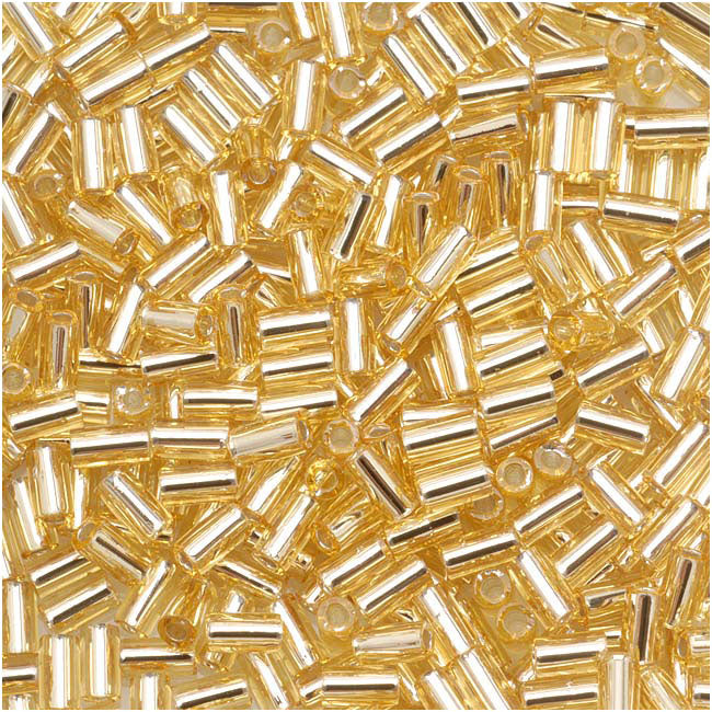 Toho Bugle Tube Beads Size #1 / 2x3mm Silver Lined Lt Topaz 8 Grams