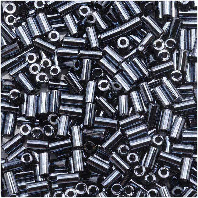 Toho Bugle Tube Beads Size #1 / 2x3mm Metallic Hematite 8 Grams
