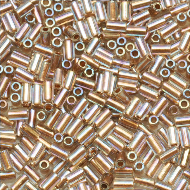 Toho Bugle Tube Beads Size #1 / 2x3mm Gold Lined Rainbow Crystal 8 Grams