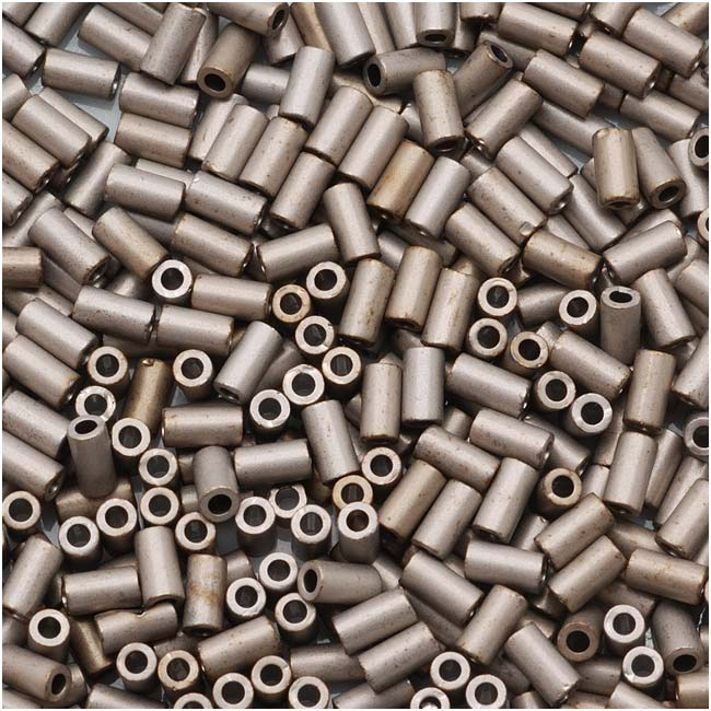 Toho Bugle Tube Beads Size #1 / 2x3mm Metallic Silver Frosted Antique Silver 8g