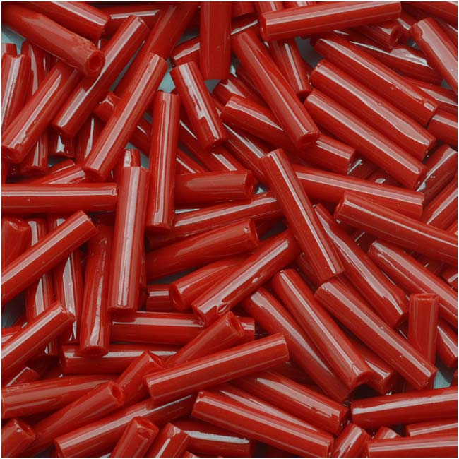 Toho Bugle Tube Beads Size #3 2x9mm Opaque Pepper Red 10 Grams