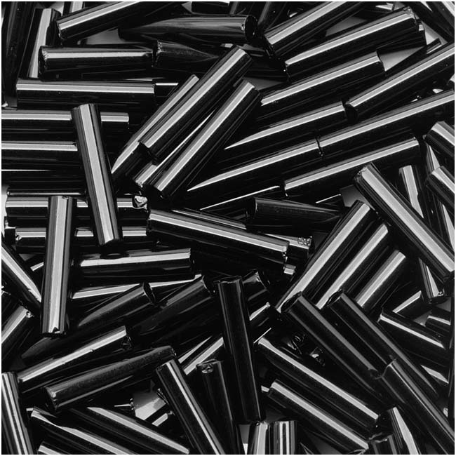 Toho Bugle Tube Beads Size #3 2x9mm Opaque Jet 10 Grams