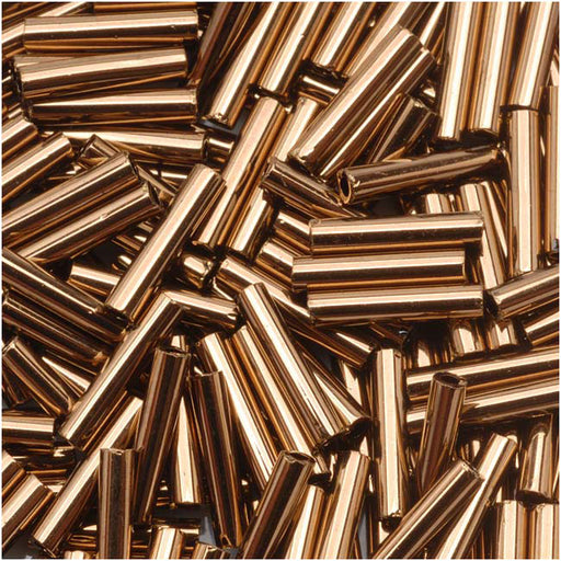 Toho Bugle Tube Beads Size #3 2x9mm Bronze 10 Grams