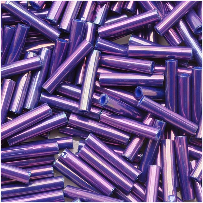 Toho Bugle Tube Beads Size #3 2x9mm Higher Metallic Grape 10 Grams