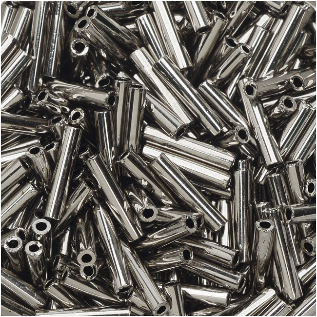 Toho Bugle Tube Beads Size #3 2x9mm Nickel 10 Grams