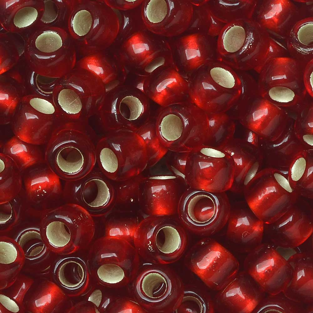 Toho Seed Beads, Round 6/0 #25CF 'Silver Lined Frosted Ruby', 8 Grams